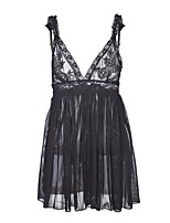 cheap -Women's Babydoll & Slips / Suits Nightwear - Backless / Mesh, Solid Colored / Embroidered