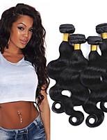 Недорогие -4 Связки Перуанские волосы Волнистый Натуральные волосы Человека ткет Волосы / Удлинитель 8-28 дюймовый Ткет человеческих волос Машинное плетение Sexy Lady / Лучшее качество / Для темнокожих женщин