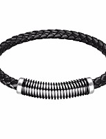 cheap -Men's Braided Leather Bracelet / Loom Bracelet - Leather, Stainless Creative Punk Bracelet Black / Brown / Blue For Prom / Holiday