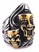 cheap -Men's Cubic Zirconia Vintage Style / Solitaire Statement Ring - Titanium Steel, Stainless Clown, Face Statement, Vintage, European 8 / 9 / 10 Gold For Carnival / Street
