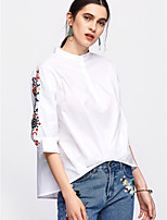 cheap -Women's Basic Cotton Shirt - Solid Colored / Floral Crew Neck / Summer