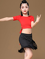 cheap -Latin Dance Outfits Girls' Training / Performance Modal Tassel / Bandage Short Sleeve High Skirts / Top