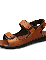 cheap -Men's Nappa Leather Summer Comfort Sandals Black / Brown
