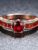 cheap -Women's Ruby / Cubic Zirconia Vintage Style Band Ring / Engagement Ring - Rose Gold Plated Vintage, Elegant 6 / 7 / 8 Red For Wedding / Engagement / Ceremony
