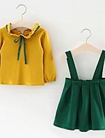 Недорогие -малыш Девочки Однотонный Длинный рукав Набор одежды