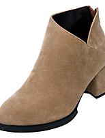 preiswerte -Damen Schuhe Wildleder Herbst Springerstiefel Stiefel Blockabsatz Runde Zehe Booties / Stiefeletten Schwarz / Beige
