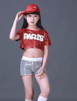 abordables -Vestidos de Cheerleader Accesorios Chica Rendimiento Licra Fruncido / Lentejuela Manga Corta Cintura Baja Top / Pantalones
