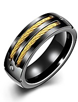 cheap -Men's Vintage Style Band Ring - Gold Plated, Stainless Creative Unique Design, Vintage 8 / 9 Black For Daily / Work