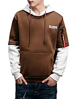 cheap -Men's Basic / Street chic Hoodie - Solid Colored / Color Block / Letter