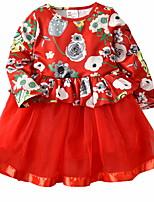 Недорогие -малыш Девочки Цветочный принт Длинный рукав Платье