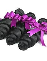 billige -3 Bundler Brasiliansk hår Bølget Menneskehår Menneskehår, Bølget / Udvidelse 8-28 inch Menneskehår Vævninger Maskinproduceret Bedste kvalitet / Hot Salg / Til sorte kvinder Naturlig Naturlig Farve