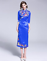 cheap -Women's Holiday Street chic / Chinoiserie Slim Sheath Dress Patchwork / Embroidered Stand / Spring / Summer