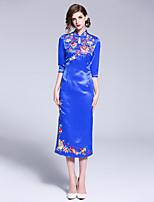 Недорогие -Жен. Уличный стиль / Шинуазери (китайский стиль) Оболочка Платье Пэчворк / Вышивка Средней длины