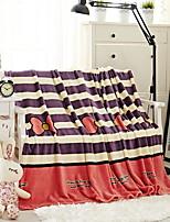 baratos -Velocino de Coral, Impressão Reactiva Geométrica Algodão / Poliéster cobertores