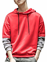 cheap -men's long sleeve hoodie - color block hooded