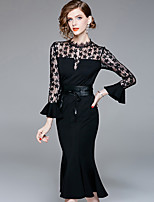 cheap -YHSP Women's Street chic / Sophisticated Flare Sleeve Sheath / Little Black / Trumpet / Mermaid Dress Lace