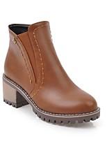 cheap -Women's Shoes PU(Polyurethane) Fall & Winter Comfort Boots Chunky Heel Beige / Dark Grey / Light Brown