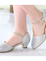 cheap -Girls' Shoes Synthetics Spring / Fall Flower Girl Shoes / Tiny Heels for Teens Heels for Silver / Blue / Pink