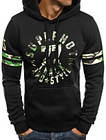 cheap -Men's Basic Hoodie - Color Block / Letter, Print