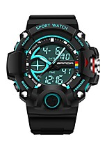 cheap -SANDA Men's Sport Watch Digital Watch Japanese Digital 30 m Water Resistant / Water Proof Calendar / date / day Stopwatch Silicone Band Analog-Digital Luxury Fashion Black - Light Blue Golden Dark