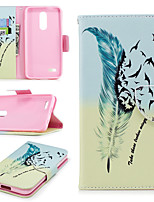 cheap -Case For LG K10 2018 Wallet / Card Holder / with Stand Full Body Cases Feathers Hard PU Leather for LG K10 2018
