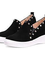 abordables -Mujer Zapatos Ante Otoño Confort Zapatillas de deporte Tacón Cuña Negro / Nudo