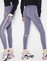 cheap -Women's Patchwork / Pocket Yoga Pants - Black, Light Purple Sports Solid Color Spandex, Mesh High Rise Tights / Leggings Running, Fitness, Dance Activewear Moisture Wicking, Quick Dry, Anatomic Design