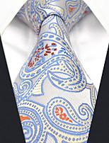 baratos -Homens Festa / Trabalho Gravata Estampa Colorida / Estampado Cashemere / Jacquard Azul e Branco