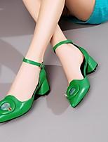 Недорогие -Жен. Обувь Наппа Leather Весна лето Туфли лодочки Обувь на каблуках Блочная пятка Заостренный носок Черный / Зеленый / Синий