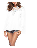cheap -Women's Basic / Street chic Blouse - Solid Colored Lace / Patchwork