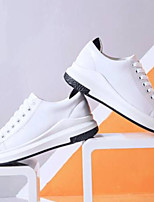Недорогие -Жен. Обувь Наппа Leather Лето Удобная обувь Кеды На плоской подошве Закрытый мыс Белый / Черный