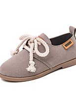 cheap -Girls' Shoes Cowhide Spring & Summer Comfort Flats Walking Shoes for Teenager Black / Gray / Khaki