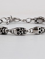 cheap -Men's Retro / Hollow Out Vintage Bracelet - Titanium Steel Skull, Creative Statement, Punk Bracelet Silver For Street / Club