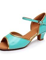 cheap -Girls' Latin Shoes PU(Polyurethane) Heel Cuban Heel Customizable Dance Shoes Fuchsia / Blue
