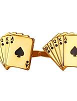 baratos -Poker Prata / Dourado Botões de Punho Cobre Fashion Homens Jóias de fantasia Para Presente / Diário