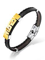 cheap -Men's Link / Chain Bracelet Bangles / Leather Bracelet - Trendy, Casual / Sporty, Fashion Bracelet Gold / Silver For Gift / Daily