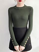 Недорогие -Жен. На выход Длинный рукав Тонкие Пуловер - Однотонный Вырез под горло
