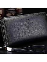 cheap -Men's Bags Cowhide Wallet Zipper Blue / Coffee / Khaki