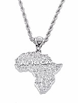 cheap -Men's Cubic Zirconia Stylish / Thick Chain Pendant Necklace / Chain Necklace - Maps, Creative Unique Design, European, Hip-Hop Silver 30 cm Necklace 1pc For Gift, Street