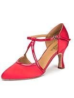 Недорогие -Жен. Обувь для латины Лакированная кожа Кроссовки Толстая каблук Танцевальная обувь Черный / Красный