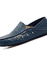 cheap -Men's Shoes Cowhide Summer Comfort / Driving Shoes Loafers & Slip-Ons Black / Brown / Blue