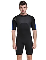 cheap -Men's Shorty Wetsuit 2mm SCR Neoprene Diving Suit Anatomic Design, Stretchy Short Sleeve Solid Colored Autumn / Fall / Spring / Summer