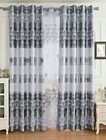 cheap -Blackout Curtains Drapes Living Room Floral 100% Polyester Printed