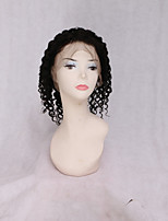 cheap -Human Hair Lace Front Wig Burmese Hair Kinky Curly Wig 130% Normal Black Women's Very Long Wig Accessories