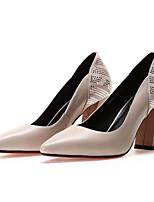preiswerte -Damen Schuhe Nappaleder Frühling / Herbst Komfort / Pumps High Heels Blockabsatz Schwarz / Beige