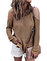 cheap -women's going out long sleeve loose pullover - solid colored halter neck