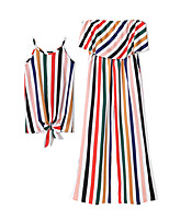 cheap -Kids / Toddler Mommy and Me Striped / Color Block 3/4 Length Sleeve / Sleeveless Dress