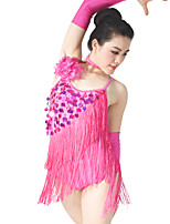 baratos -Dança Latina Roupa Mulheres Espetáculo Elástico / Lycra Miçangas / Flor Rosette / Cruzado Sem Manga Caído Jóias para o Cabelo / Vestido / Luvas