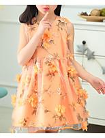 Недорогие -Дети Девочки Классический Цветочный принт С принтом Без рукавов Выше колена Платье