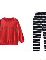 preiswerte -Kinder Mädchen Solide Langarm Kleidungs Set